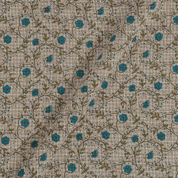 Flex Cotton Beige Colour 43 Inches Width Floral Jaal Block Print Fabric
