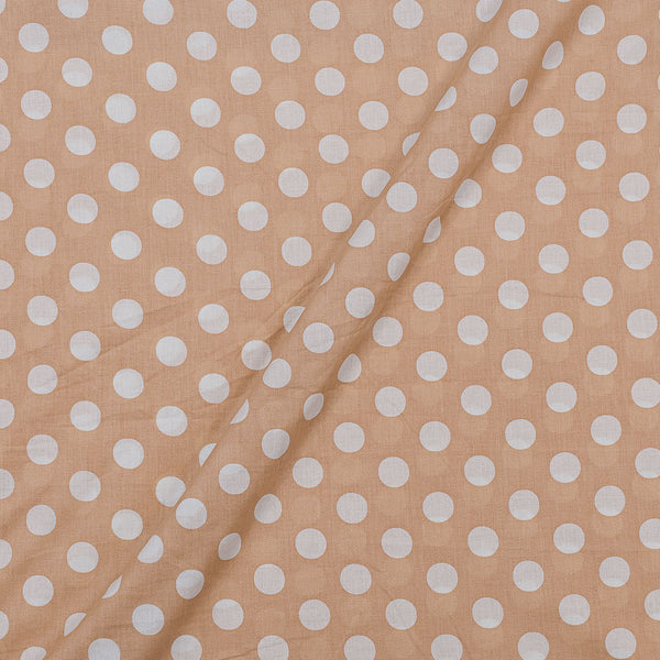 Super Fine Silklized Cotton Beige Colour 43 Inches Width Polka Prints Fabric