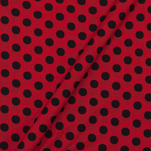 Super Fine Silklized Cotton True Red Colour 43 Inches Width Polka Prints Fabric