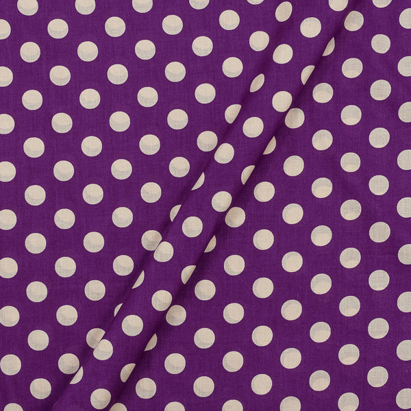 Super Fine Silklized Cotton Violet Colour 43 Inches Width Polka Prints Fabric