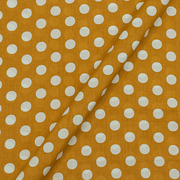 Super Fine Silklized Cotton Mustard Colour 43 Inches Width Polka Prints Fabric