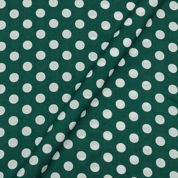 Super Fine Silklized Cotton Charcoal Green Colour 43 Inches Width Polka Prints Fabric