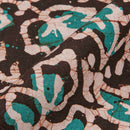 Cotton Batik Dark Brown Colour Leaves Print Fabric