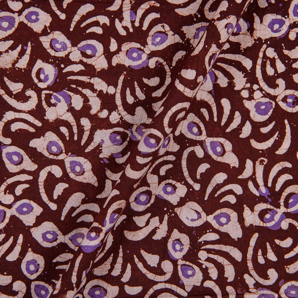 Cotton Batik Dark Brown Colour Floral Print Fabric