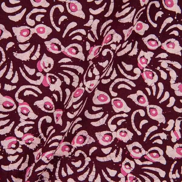 Cotton Batik Plum Colour Floral Print Fabric