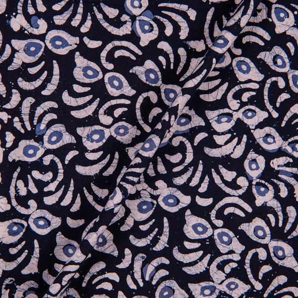 Cotton Batik Dark Navy Blue Colour Floral Print Fabric