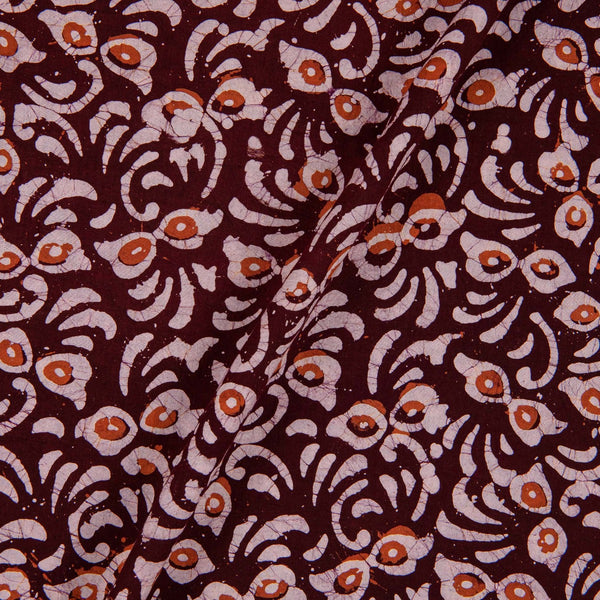 Cotton Batik Brown Colour Floral Print Fabric
