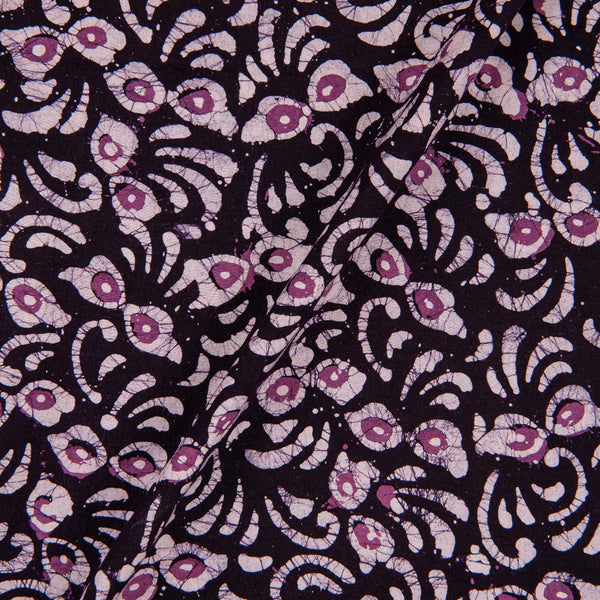 Cotton Batik Black Colour Floral Print Fabric