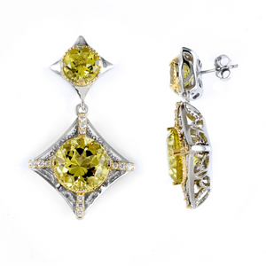 18K GOLD & STERLING SILVER TRUE TWO TONE EARRINGS WITH YELLOW QUARTZ & DIAMONDS
