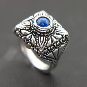 VINTAGE LOOKING OXIDIZED STERLING SILVER RING WITH LAPIS