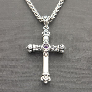 ORNATE OXIDIZED STERLING SILVER CROSS PENDANT WITH AMETHYST