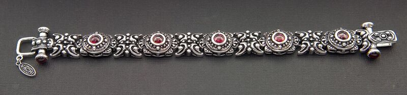 VINTAGE STYLE OXIDIZED STERLING SILVER BRACELET WITH GARNET STONES