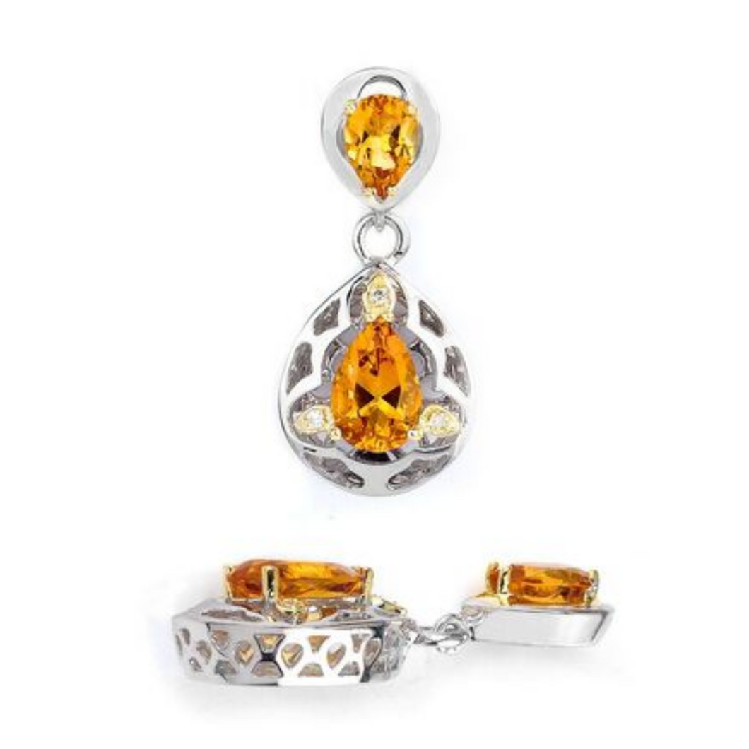 18K GOLD AND STERLING SILVER TRUE TWO TONE TEAR DROP EARRINGS WITH CITRINE & DIAMOND