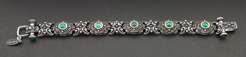 VINTAGE STYLE OXIDIZED STERLING SILVER BRACELET WITH MALACHITE STONES