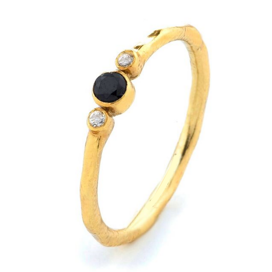 SYMBOL OF ETERNITY RING WITH BLACK SPINEL AND WHITE TOPAZ BEZEL SET IN STERLING SILVER & 18K GOLD PLATING