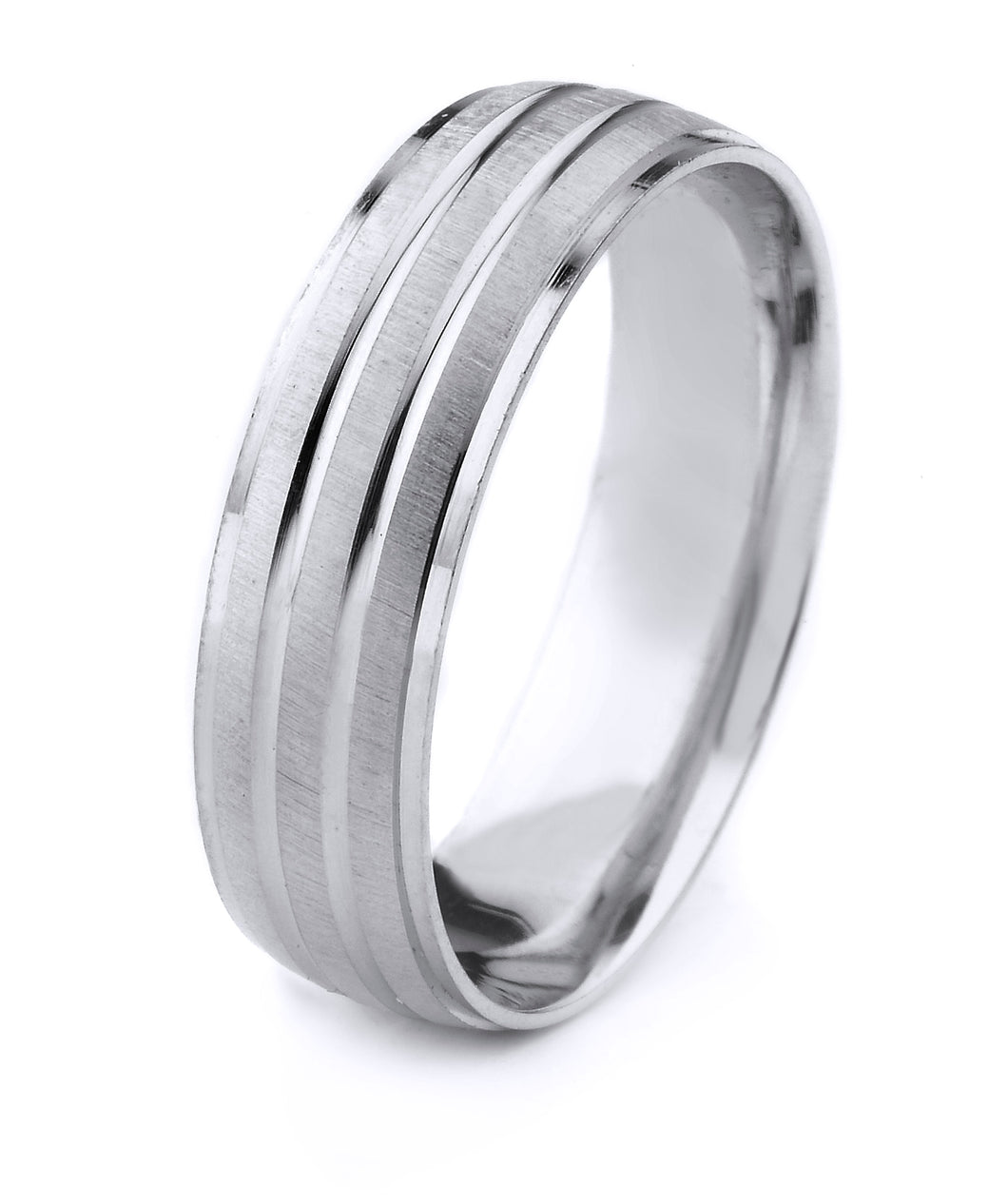 PLATINUM MEN'S WEDDING BAND WITH CROSS SATIN FINISH AND POLISHED GROOVES