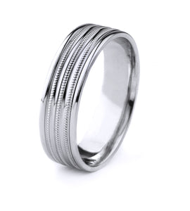 PLATINUM MENS WEDDING BAND WITH TRIPLE MILGRAIN, DOUBLE GROOVE AND POLISHED FINISH
