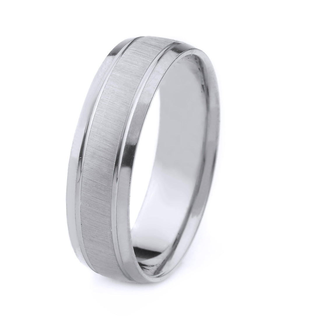 PLATINUM MENS WEDDING BAND WITH CROSS SATIN FINISH POLISHED BEVELED EDGES AND GROOVES