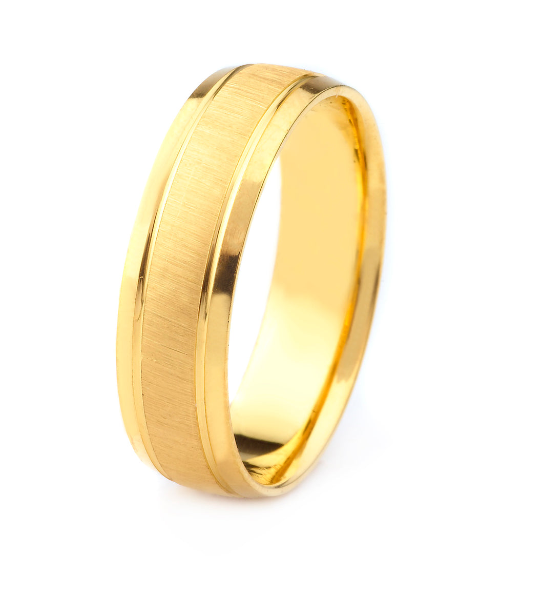 14K GOLD MENS WEDDING BAND WITH CROSS SATIN FINISH POLISHED BEVELED EDGES AND GROOVES