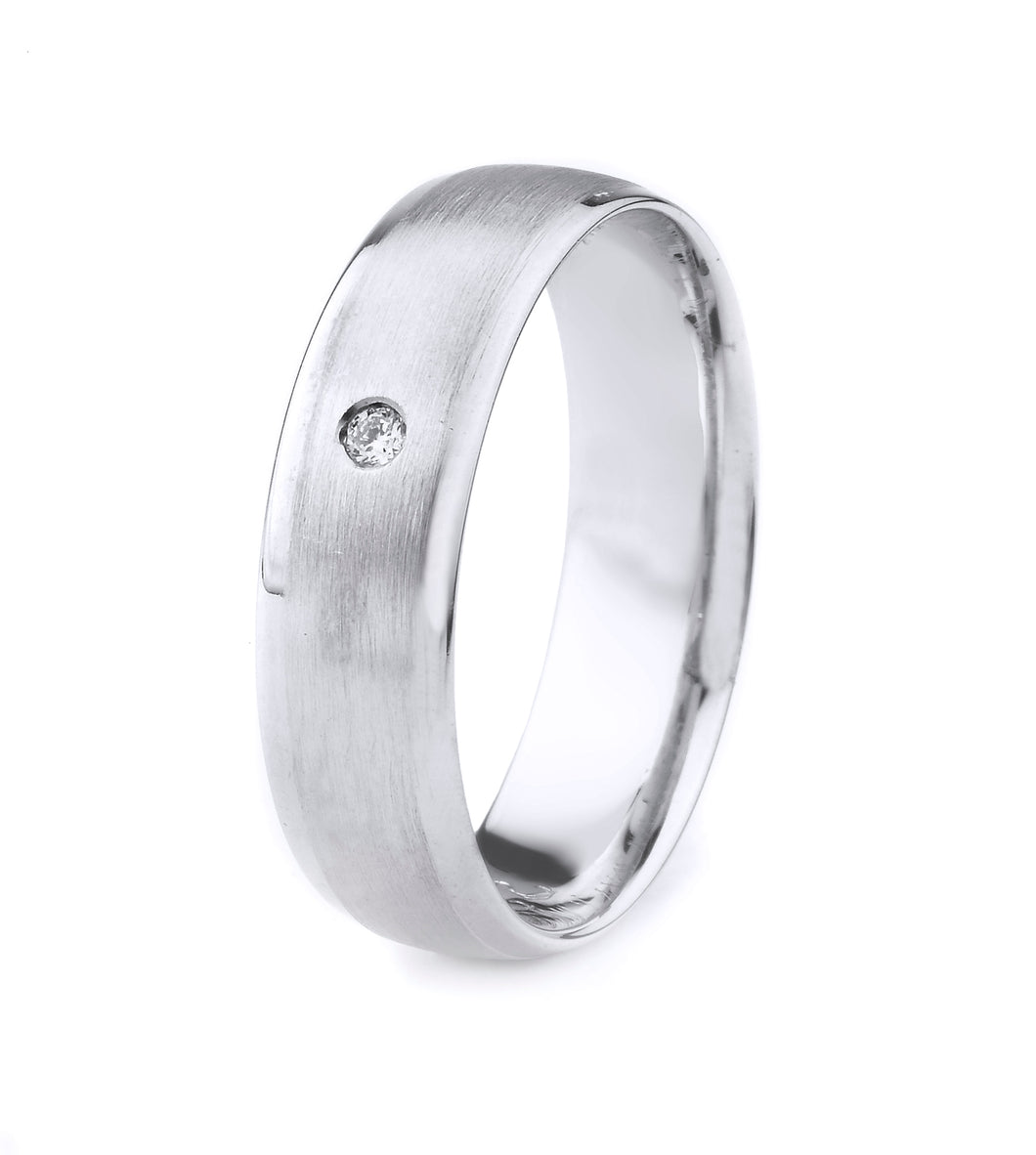 PLATINUM MEN'S WEDDING BAND WITH SATIN FINISH, MILGRAIN AND BEVELED EDGES | SINGLE DIAMOND (.02CTTW)