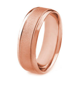 14K GOLD MEN'S WEDDING BAND WITH STONE FINISH, MILGRAIN AND BEVELED EDGES