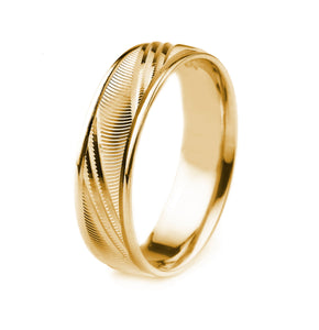 10K GOLD MENS WEDDING BAND WITH RIDGE CUT FINISH CARVED DESIGN AND POLISHED EDGES