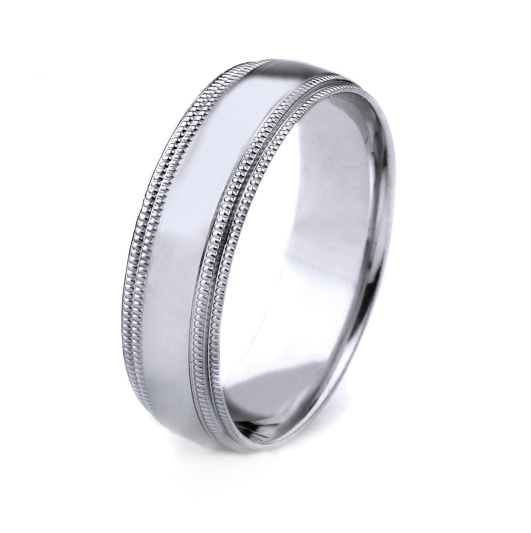 PLATINUM MEN'S WEDDING BAND WITH POLISHED FINISH AND DOUBLE MILGRAIN EDGES