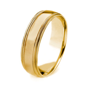 18K GOLD MEN'S WEDDING BAND WITH POLISHED FINISH AND DOUBLE MILGRAIN EDGES