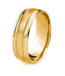 18K GOLD MEN'S WEDDING BAND WITH SATIN FINISH MILGRAIN CENTER AND POLISHED BEVELED EDGES