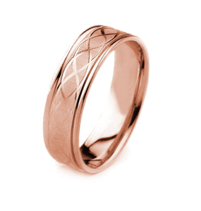 14K GOLD MEN'S WEDDING BAND WITH CARVED TRIPLE HELIX DESIGN, COIN EDGE FINISH AND POLISHED EDGES