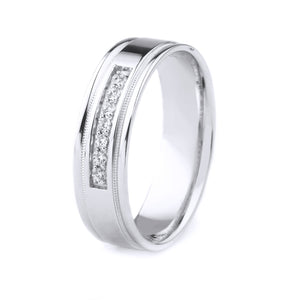PLATINUM MEN'S WEDDING BAND WITH POLISHED FINISH, MILGRAIN AND POLISHED EDGES | SEVEN DIAMONDS (.12CTTW)