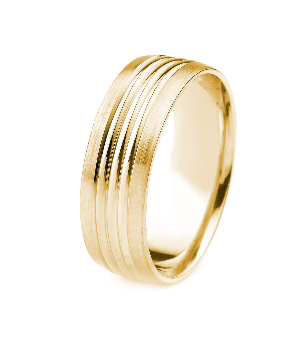 14K GOLD MEN'S WEDDING BAND WITH THREE POLISHED GROOVES AND SATIN FINISH EDGES