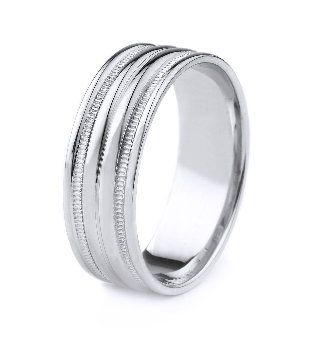 PLATINUM MEN'S WEDDING BAND WITH RAISED CENTER GROOVE, MILGRAIN AND POLISHED FINISH