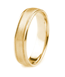 14K GOLD MEN'S WEDDING BAND WITH MILGRAIN AND POLISHED EDGES AND A SATIN FINISH