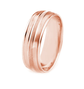 14K GOLD MEN'S WEDDING BAND WITH COIN EDGE CENTER, SATIN FINISH AND POLISHED EDGES