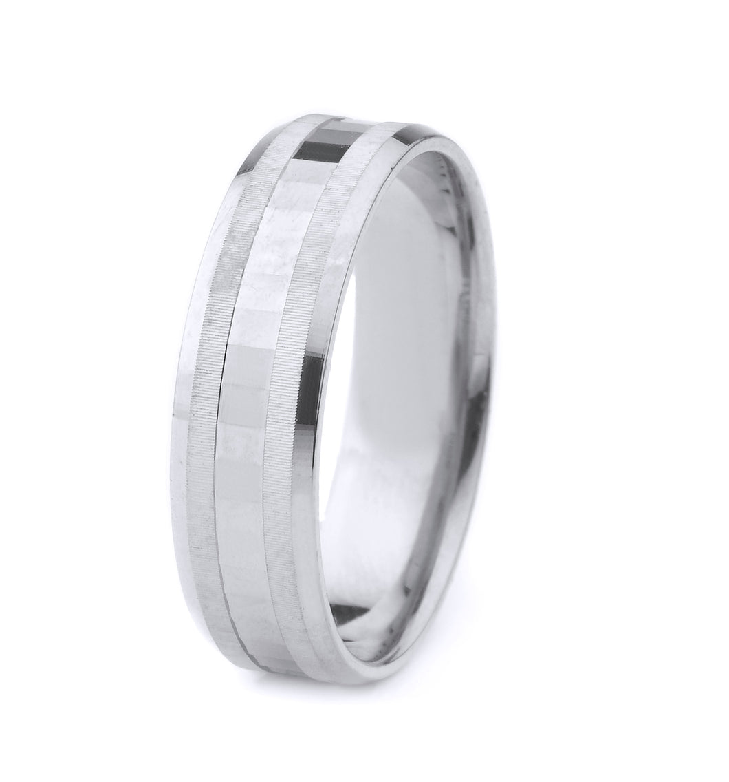 10K GOLD MEN'S WEDDING BAND WITH MIRROR CUT CENTER, DOUBLE COIN EDGE DESIGN AND POLISHED BEVELED EDGES