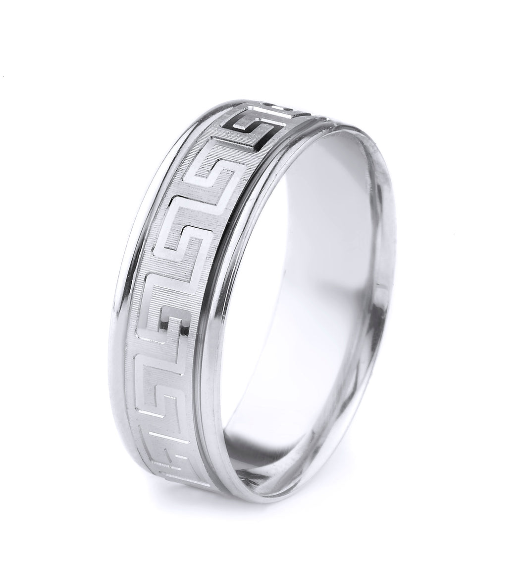 18K GOLD MEN'S WEDDING BAND WITH GREEK KEY DESIGN WITH WORN COIN EDGE FINISH AND POLISHED EDGES