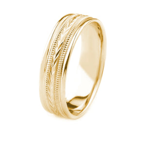 14K GOLD MEN'S WEDDING BAND WITH MILGRAIN AND WHEAT DESIGN CENTER AND POLISHED EDGES