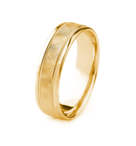 14K GOLD MEN'S WEDDING BAND WITH PIN DROP FINISH, MILGRAIN AND POLISHED EDGES