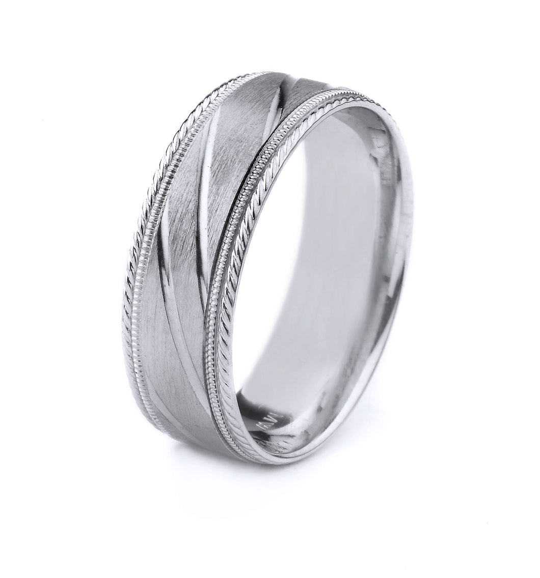 PLATINUM MEN'S WEDDING BAND WITH DIAGONAL CUT GROOVES AND SATIN FINISH, MILGRAIN AND SCROLL EDGES