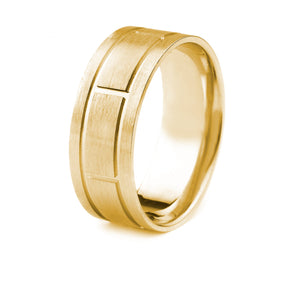 18K GOLD MEN'S WEDDING BAND WITH RECTANGLE CUT POLISHED GROOVES AND SATIN FINISH