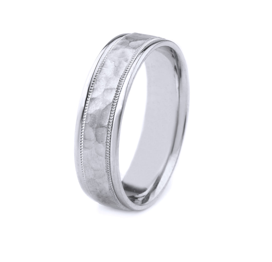 PLATINUM MEN'S WEDDING BAND WITH HAMMERED FINISH, MILGRAIN AND POLISHED EDGES