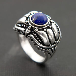CARVED OXIDIZED STERLING SILVER BAND WITH LAPIS CABOCHAN