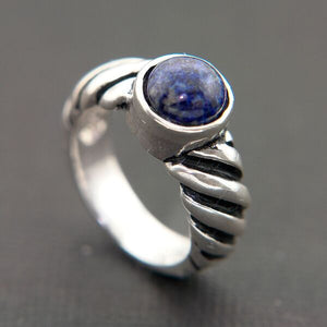 STERLING SILVER RING WITH GENUINE LAPIS CENTER STONE