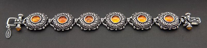VINTAGE STYLE WITH CELTIC DESIGN OXIDIZED STERLING SILVER BRACELET WITH AMBER