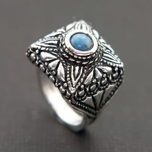 VINTAGE LOOKING OXIDIZED STERLING SILVER RING WITH DENIM LAPIS