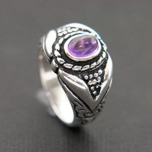 CARVED STERLING SILVER RING BEZEL SET WITH AMETHYST