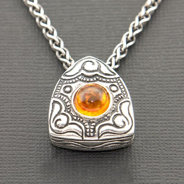 OXIDIZED STERLING SILVER SLIDER PENDANT WITH AMBER CABACHON