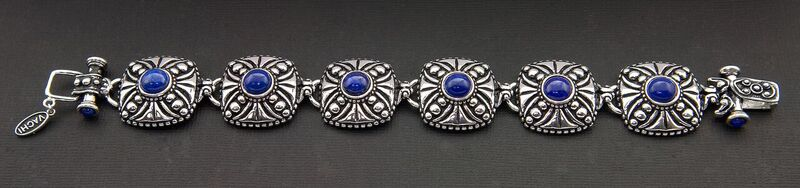 VINTAGE LOOKING CROSS DESIGN OXIDIZED STERLING SILVER BRACELET WITH LAPIS