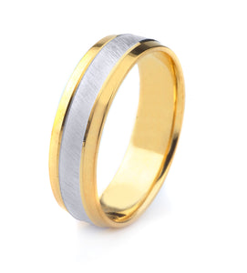 14K GOLD MENS TWO TONE WEDDING BAND WITH CROSS SATIN FINISH AND POLISHED EDGES